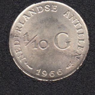 1966 - 1/10 Gulden - Fish & Star - Argent - Pays-Bas Antillles