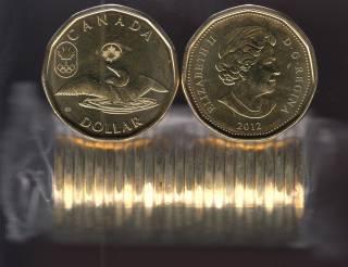 2012 Canada $1 Dollar - Lucky Loonie - BU ROLL 25 Coins - UNC