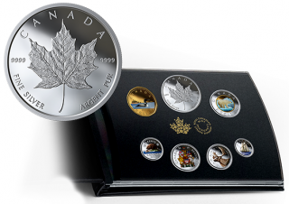 2019 - Pure Silver Coloured 6-Coin Set with Medallion - Canadian Circulation Collection