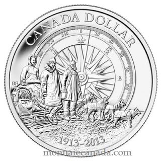 2013 - Brilliant Fine Silver Dollar - 100th Anniversary of the Canadian Arctic Expedition