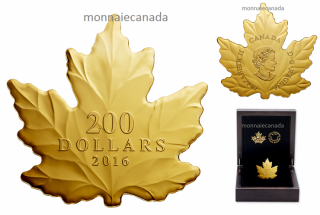 2016 - $200 - 1 oz. Pure Gold Coin – Maple Leaf Silhouette