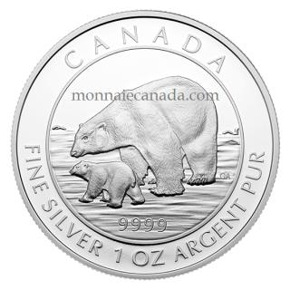 2015 - $5 - 1 oz. Fine Silver Coin – Polar Bear and Cub