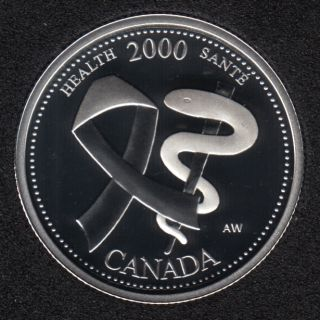 2000 - #4 Proof - Silver - Health - Canada 25 Cents