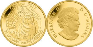 2013 - $25 - 1/4 oz Fine Gold Coin - Arctic Fox