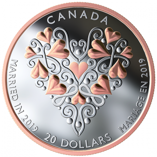 2019 - $20 - Best Wishes On Your Wedding Day - 1 oz. Pure Silver Coin with Pink Gold Plating