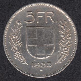 1933 B - 5 Francs - Switzerland