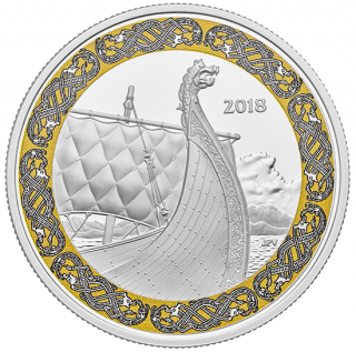 2018 - $20 - 1 oz. Pure Silver Coloured Coin - Norse Figureheads: Dragon's Sail