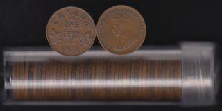 1932 Canada 1 Cent - ROULEAU 50 Pieces - dans un Tube de Plastique
