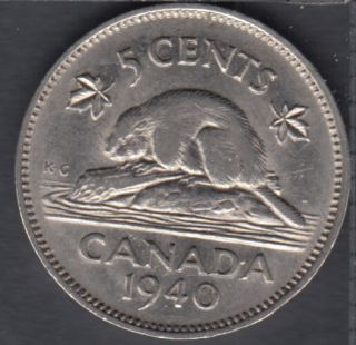1940 - Rotated Dies - VF - Canada 5 Cents