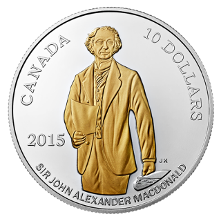 2015 - $10 -1/2 oz. Fine Silver Gold-Plated Coin - 200th Anni. of the Birth of Sir John A. Macdonald