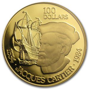 1984 Canada $100 Or 22 K - Jacques Cartier