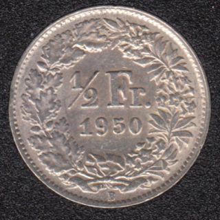 1950 B - 1/2 Franc - EF - Suisse