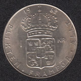 1962 U - 1 Krona - Unc - Suede