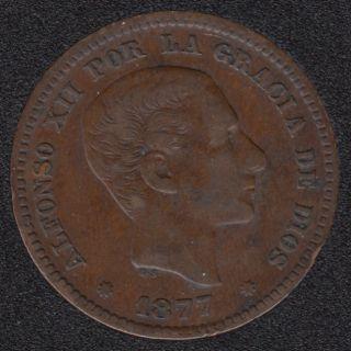 1877 - 5 Centimos - VF - Espagne