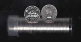 1963 Canada 5 Cents - Roll 40 Coins in Plastic Tube - B.UNC
