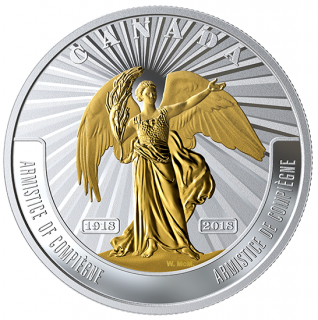 2018 - $20The Armistice of Compiègne - 1 oz. Pure Silver Selectively Gold-Plated Coin: First World War Battlefront Series