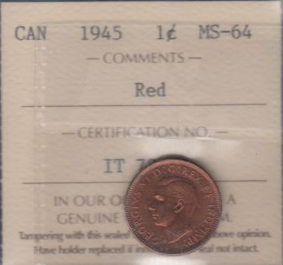 1945 - ICCS - MS 64 - Red - Canada Cent