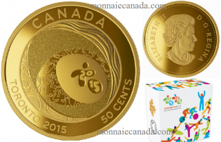 2015 - 50-cent Gold-Plated Coin - TORONTO 2015™ Pan Am and Parapan Am Games