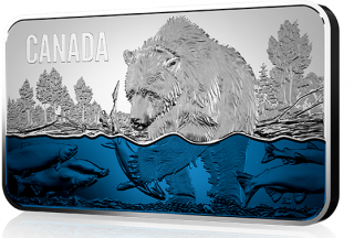 2018 - $25 - Pure Silver Ultra-High Relief Coin - Salmon Run