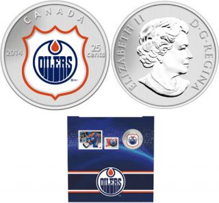 2014 - NHL Coin and Stamp Gift Set - Edmonton Oilers