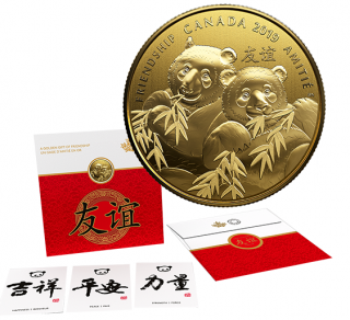 2019 - $8 - Pure Silver Gold-Plated Coin - Pandas: A Golden Gift of Friendship