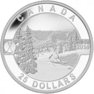 2014 -  $25 - 1 oz. Fine Silver Coin - Skiing Canada's Slopes