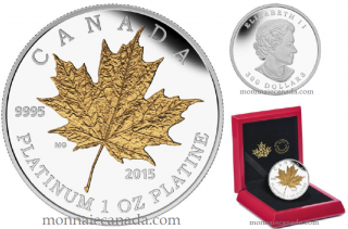 2015 - $300 - 1 oz. Pure Platinum Gold-Plated Coin - Maple Leaf Forever