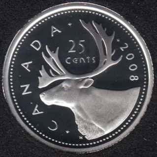 2008 - Proof - Silver - Canada 25 Cents