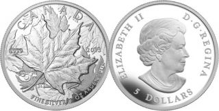 2013 -$5 - 1 oz. Fine Silver High Relief Piedfort - 25th Anniversary of the Silver Maple Leaf