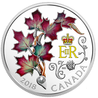 2018  $20 - 1 oz. Pure Silver Coin - Her Majesty Queen Elizabeth II's Maple Leaves Brooch