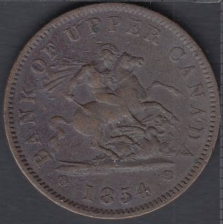 P.C. 1854 Bank of Upper Canada Penny - VF - Crosslet '4' - PC-6C2