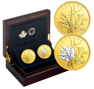 2018 - $200- 1 oz. 99.999% Pure Gold 2-Coin Set - Enchanting Maple Leaves