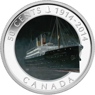 2014 - 50 Cents - Silver Plated Coin - Lost Ships in Canadian Waters: RMS Empress of Ireland