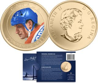 2011 - 25 Cents - Wayne Gretzky Coloured Coin - The Great One -  From father to son