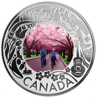 2019 - $3 - Pure Silver Coloured Coin - Cherry Blossoms: Celebrating Canadian Fun and Festivities
