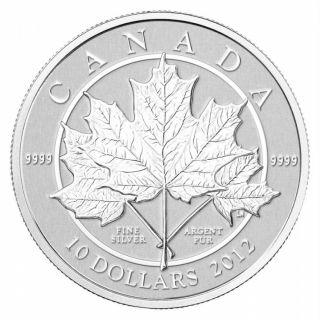 2012 - $10 1/2 oz Fine Silver Maple Leaf Coin
