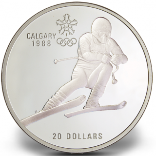 1988 - #1 (1985) $20 - Sterling Silver Coin, Calgary Olympic Winter Games, Downhill Skiing