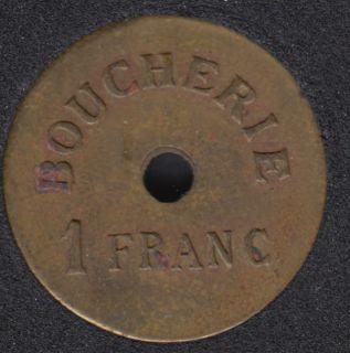 Boucherie  - 1 Franc - Union Fraternelle - Lievin - Jeton