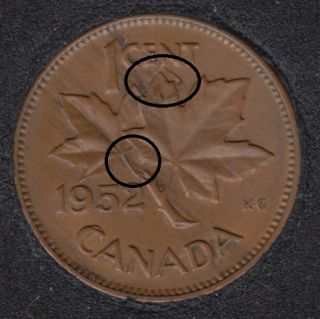 1952 - Clash on Branch Planchet Flaw & Half Moon - Canada Cent