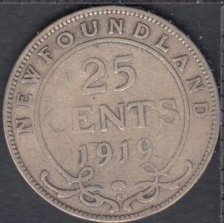 Terre Neuve - 1919 C - EF - 25 Cents