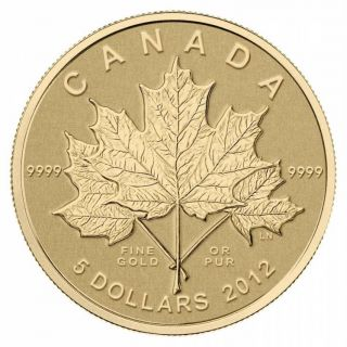 2012 Canada $5 Dollars Fine Gold Coin - Maple Leaf Forever