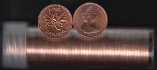 1975 Canada 1 Cent - BU ROLL 50 Coins - UNC - in Plastic Tube