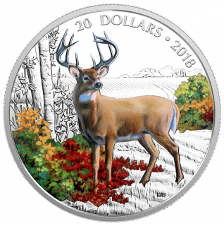 2018 - 20 - 1 oz. Pure Silver Coloured Coin - Majestic Wildlife: Wandering White-tailed Deer