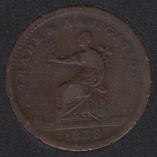 1838 - Trade & Navigation - Pure Copper Preferable to Paper - 1 Stiver - British Guiana