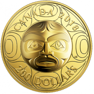 2018 - $200 - 99.999% Pure Gold Ultra-High Relief Coin - Ancestor Moon Mask