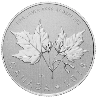 2018 - $10 - 1/2 oz. Pure Silver Coin - Maple Leaf