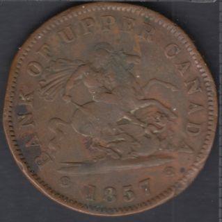 P.C. 1857 Bank of Upper Canada Penny - Plié - PC-6D