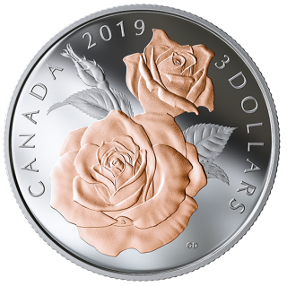 2019 - $3 - Pure Silver Coin with Selective Rose Gold Plating - Queen Elizabeth Rose Blossoms