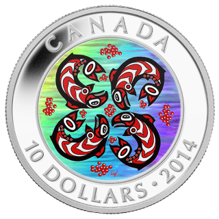 2014 - $10 - 1/2 oz. Fine Silver Hologram Coin - First Nations Art: Salmon