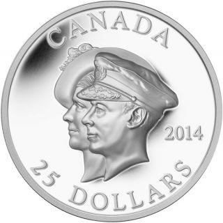 2014 - $25 - Pièce à très haut relief argent fin - 75e anni. de la première visite royale au Canada